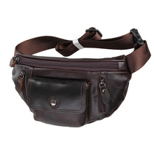 Designer First layer Real Genuine Leather Waist Bag for Men Cow Leather Wallet Purse belt pouch men first grade cow #VP-J7209