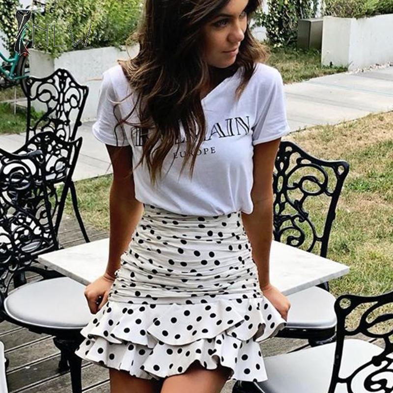 NLW Vintage Polka Dot Skirt 2019 Winter Bodycon Ruffle Skirts Women Fashion Slim Autumn Mini Skirt High Waist Short Sexy Skirts