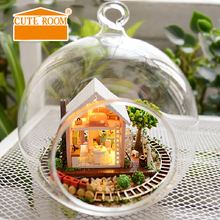 DIY Doll House Miniature Dollhouse Casa Model 3D Glass Ball Furniture For Dolls Handmade Birthday Gift Toys For Children B008 #E diy miniature doll house casa toys dollhouse wooden model with 3d led furnitures house for dolls handmade toys for children e