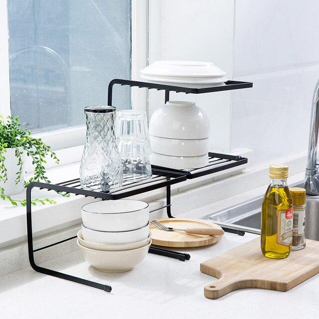 Dapur Kabinet Besi Dapat Ditumpuk Hidangan Rak Penyimpanan Sink Diaan Bu