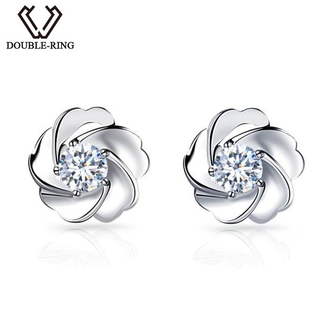 5ff57daf02421 US $229.0 18% OFF DOUBLE R 0.1ct Genuine Diamond Pure Solid Real 18k Gold  Diamond Stud Earrings For Girls-in Earrings from Jewelry & Accessories on  ...