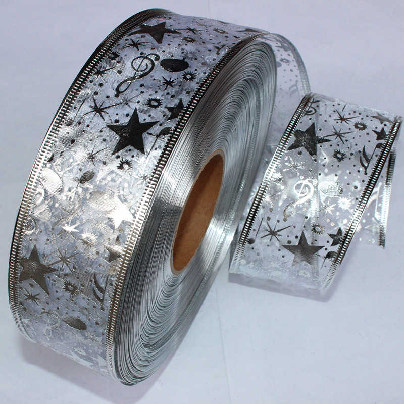 100Yard 2 5CM Wide Silver Ribbon Gauze Printing Star Christmas Tree Decoration DecorationDIY Accessories In Ribbons From Home