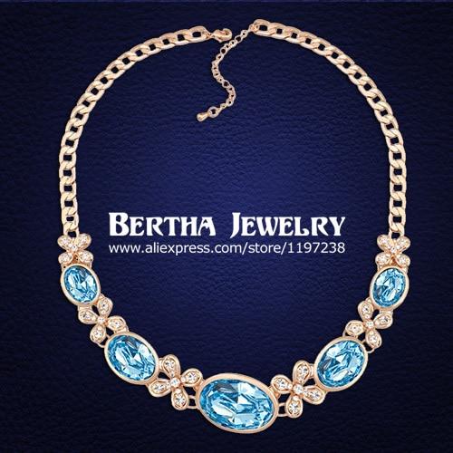 Alta calidad Oval Crystal collar Collier por con genuino elementos de Swarovski collares de la muchacha mejores amigos regalos