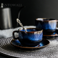 ANTOWALL Dim Blue Series Ceramic Coffee Cup and Saucer Set Breakfast Cup Afternoon Tea Cup Simple Retro Tableware