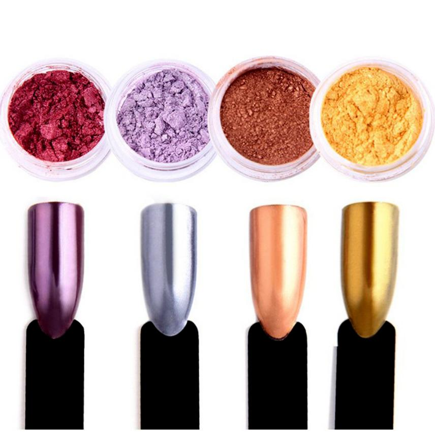 Glitter Aluminum Flakes Magic Mirror Effect Powders Sequins Nail Gel Polish Chrome Pigment Decorations