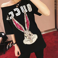2018 Spring Summer Sequined Rabbit Woman T Shirt Pure Cotton Short Sleeve Woman Tee Shirt Chic