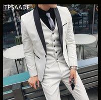 (Jacket+Pants+Vest)Shawl Lapel Groomsmen One Button Groom Tuxedos Men Suits Wedding/Prom/Dinner Best Man Blazer