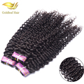 Золото Волос завод 100% девственница вьющиеся волосы 3 пучки много джерри curl бразильские человеческие вьющиеся наращивание волос для черных женщин