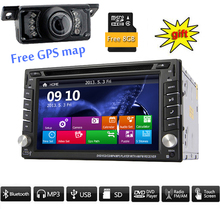 Backup Camera+HD Double 2 Din Car Stereo Radio DVD MP3 Player GPS Bluetooth Car styling cassette tape recorder PC CD DVD Player