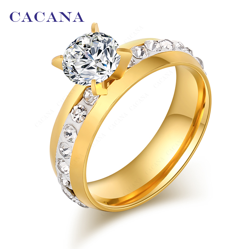 2016 CACANA Top quality rings for women  18k gold plated fashion jewelry wholesale NO.R110