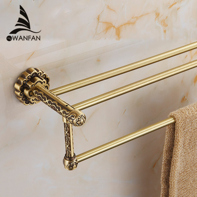 Towel Bars 2 Tier Antique Brass Wall Shelves Towel Rack Bath Holder Towel Hangers Luxury Bathroom Accessories Towel Rails 10711F whole brass blackend antique ceramic bath towel rack bathroom towel shelf bathroom towel holder antique black double towel shelf