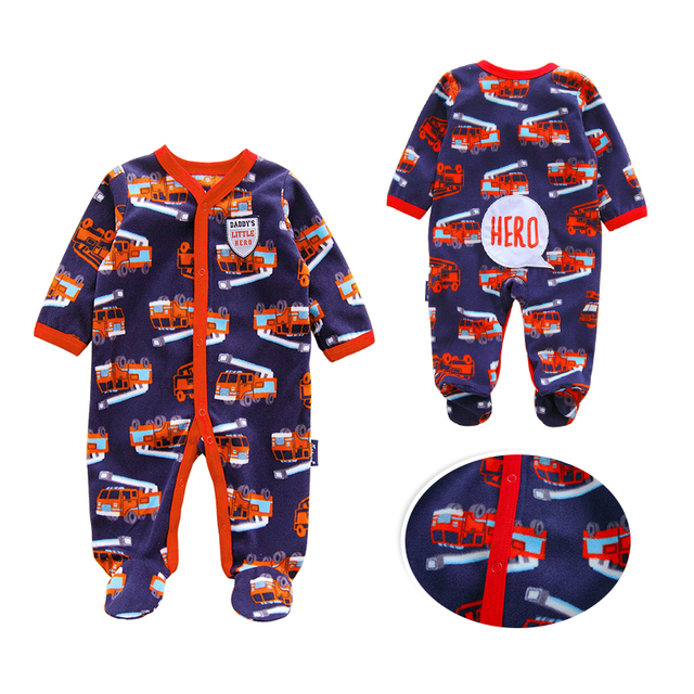 d225051d27f1 Fire engine New 2019 Autumn Winter Baby Rompers Clothes Long Sleeved ...
