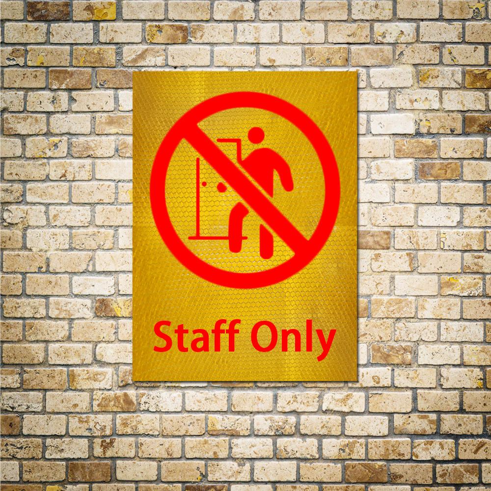 1pc 15x20cm Reflective Warning Stickers For Walls Non Staff Members