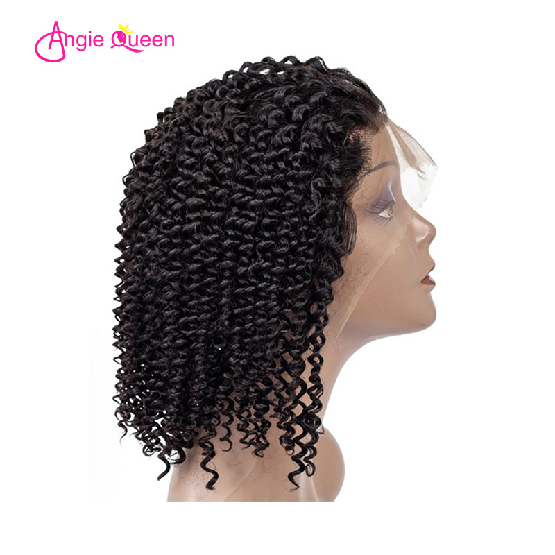 Angie Queen Kinky Curly 13*4 Lace Front 8'-16' 150% Malasian Remy Hair Wigs Natural Color 100% Human Hair Bob Wig Remy Hair