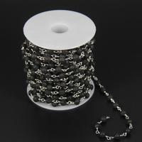 Rosary Plated Silver Wire Wrapped Link Craft Necklace Chain Black Lava Round Beads Chains Jewelry Findings