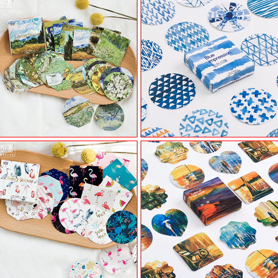 1 BOX Kawaii DIY Cute Van Gogh animal Style Daisy Illustration Stickers For Scrapbooking Decoration Paper for notebook 06467 14pcs creative kawaii lovely cute self made victoria rabbit animal stickers trolley case computer notebook stickers luggage