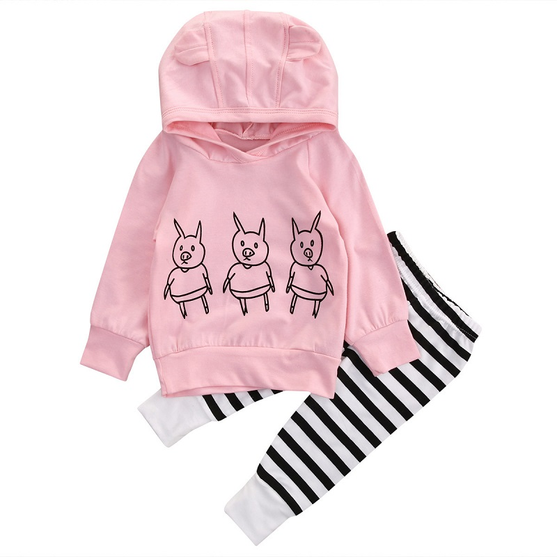 Pigs Baby Girls Kids Sweatshirt Tops+Striped Pants 2pcs Outfits Tracksuit Set Pink Spring Autumn Hoodies