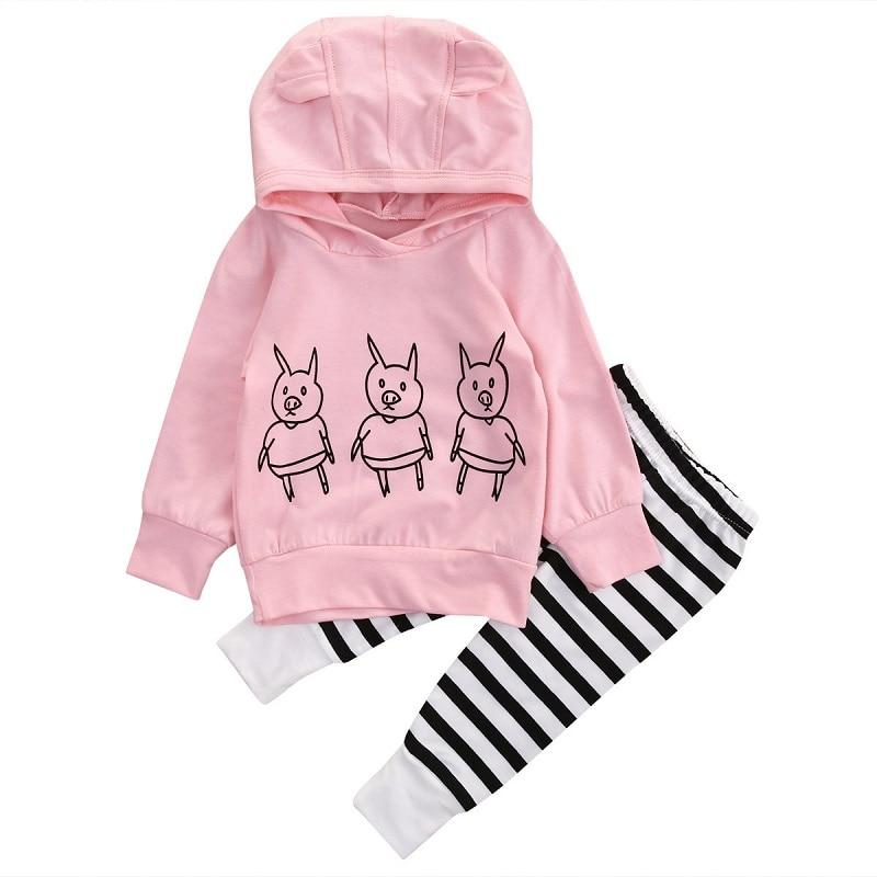 Pigs Baby Girls Kids Sweatshirt Tops+Striped Pants 2pcs Outfits Tracksuit Set Pink Spring Autumn Hoodies