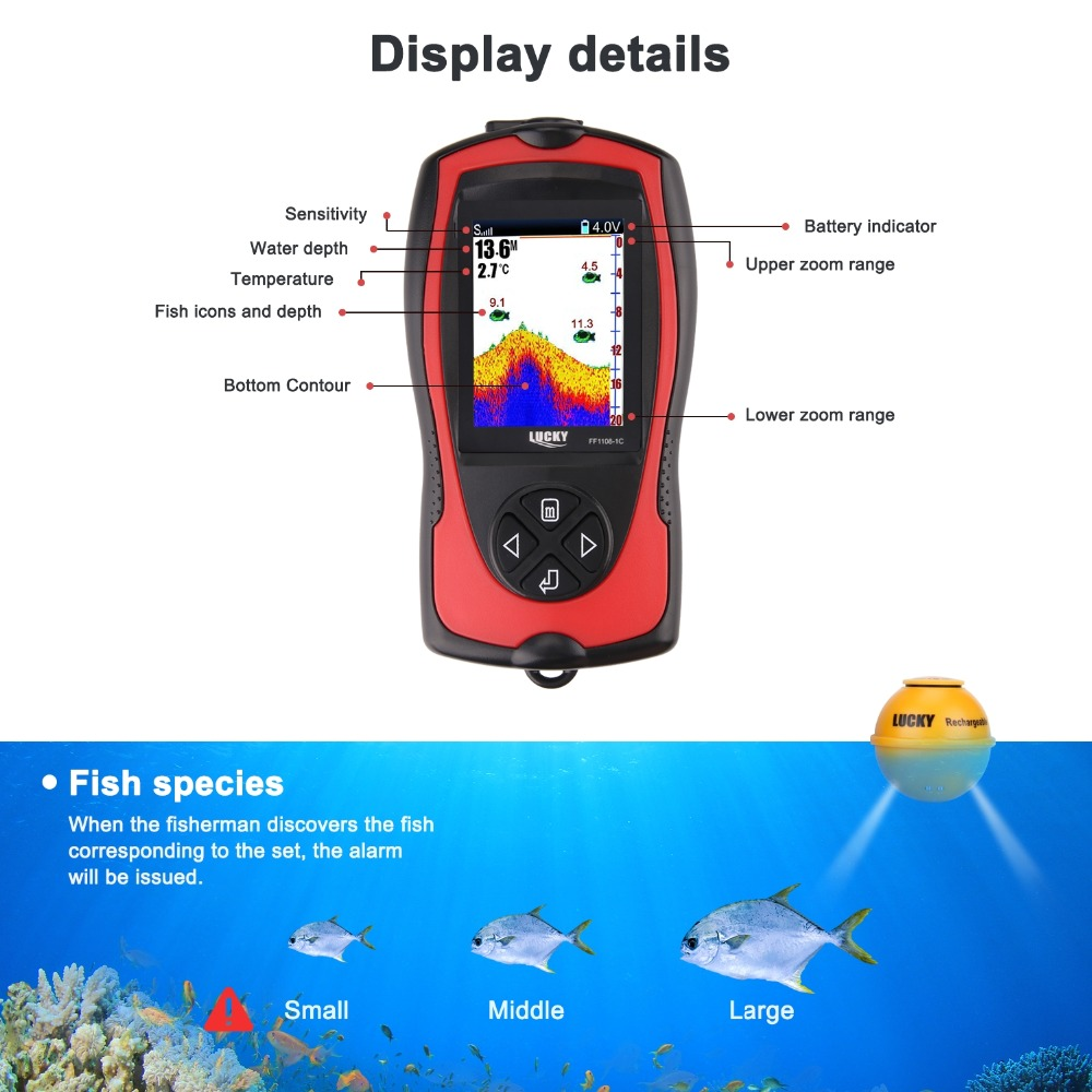 FF1108-1CWLA Rechargeable Findfish Wireless Remote Sonar Sensor 45M Water Depth High Definition LCD FishFinder Fish Finder Pesca (8)