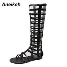 Aneikeh New Women Knee High Sexy Gladiator Sandals