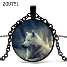 2018/ hot sale, charm snow wolf glass pendant necklace, men and women wear necklace jewelry.(China)