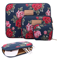 2016 Kayond Laptop Sleeve Bag Dark Blue Peony Print Canvas Notebook Briefcase 11 12 13 14 15 inch Power Bag Mouse Bag 8 10 inch