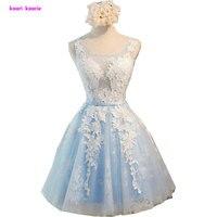 Light Sky Blue Short Scoop Lace Prom Dresses 2017 New Arrive Tulle A Line Applkiques Lace