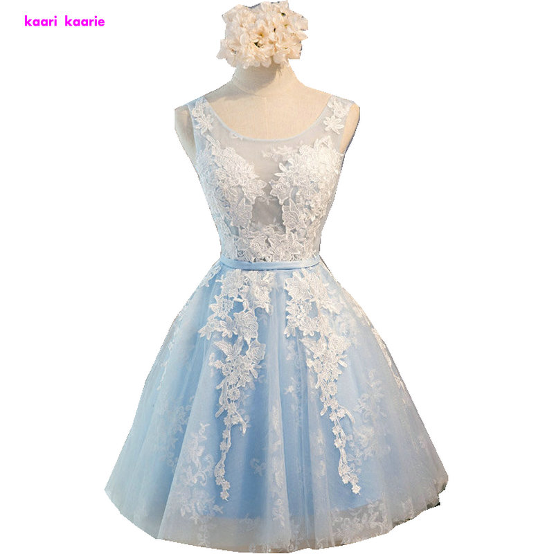 Light Sky Blue Scoop Lace   Prom     Dresses   Short 2019 New Arrive Tulle A-Line Applkiques Lace-Up Cocktail gow Party homecoming   dress