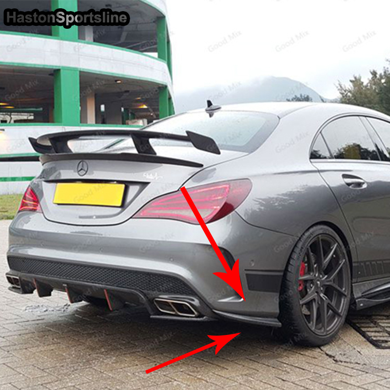 For Mercedes Benz W117 CLA250 CLA26 CLA45 FRP Unpainted Primer Rear Bumper Splitter Apron 2013-2016 for mercedes benz cla class w117 cla180 cla200 cla250 cla45 amg carbon fiber front lip splitter flap canard fits sporty car amg