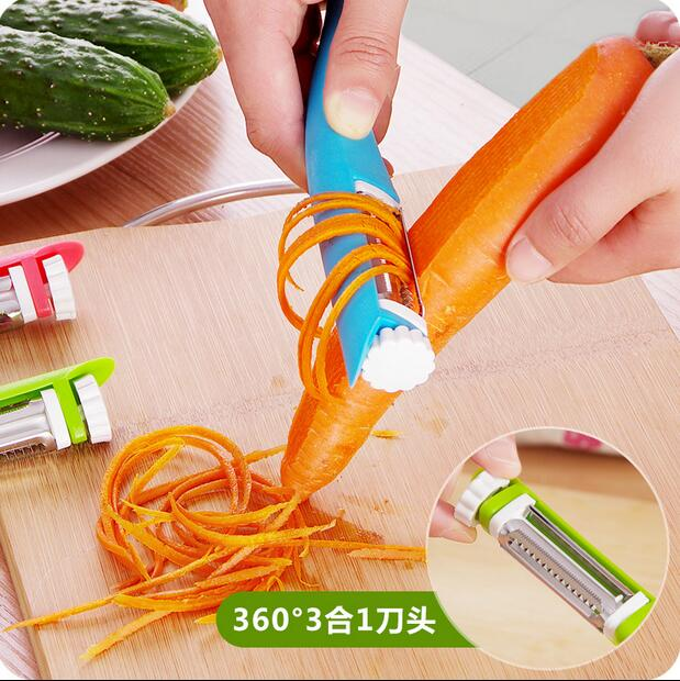 Multifunctional Three-in-one Rotate Cutting Head Peeler Creative Fruits and Vegetables Grater Kitchen Planer Knives