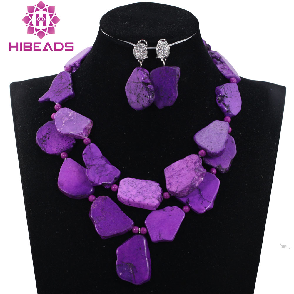 Mode déclaration collier ensemble indien bijoux mariage ensemble violet collier boucles d'oreilles ensemble fête des mères 7 couleurs livraison gratuite TN168