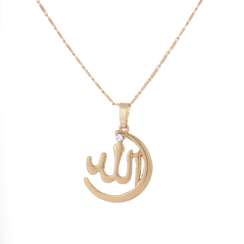 wholesale New Brand Muslim Crescent Pendant Necklace Silver Gold Color Islam Moon Star Jewelry Women anniversaries Gift in Pendant Necklaces from Jewelry Accessories