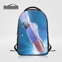 Dispalang 3D Ballet Shoes Toe Printing Women Backpack Brand Designer School Bag Girls Travel Shoulder Bags Female Casual Bagpack