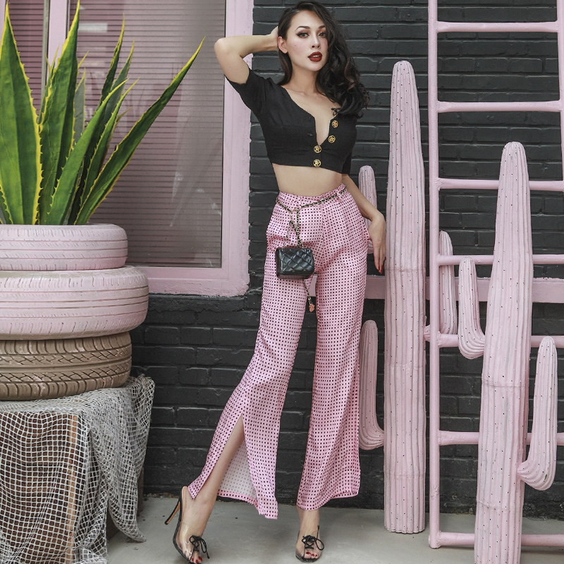 2018 Summer Stylish Breathable Satin Fabric   Wide     Leg     Pants   Women Slim High Rise Designed Pink Dot Polka Long   Pants   no Stretch