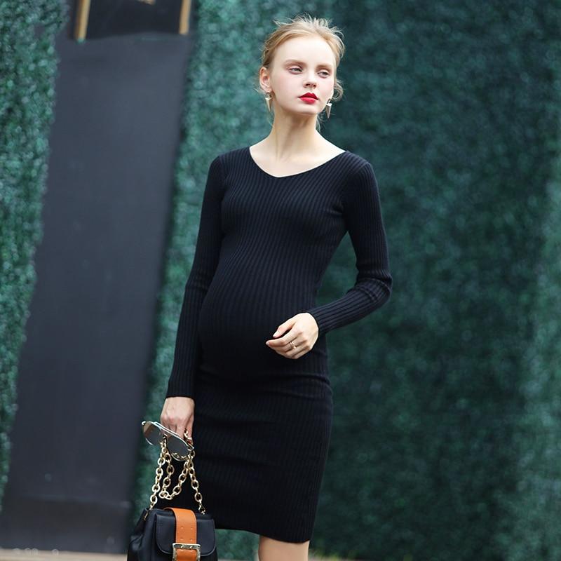 Nette schwangere mutterschaft kleidung herbst volle hülse dress ...