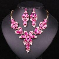 الأزياء الوردي كريستال مجموعات قلادة أقراط الزفاف مجموعات مجوهرات الزفاف زخارف حزب المجوهرات المجوهرات بالجملة