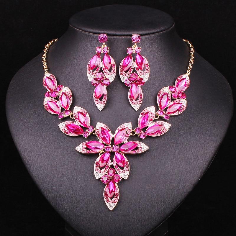Модни розови кристални комплекти бижута Булчински огърлици Обеци Комплекти сватбени бижута Костюми Бижута Украшения на едро