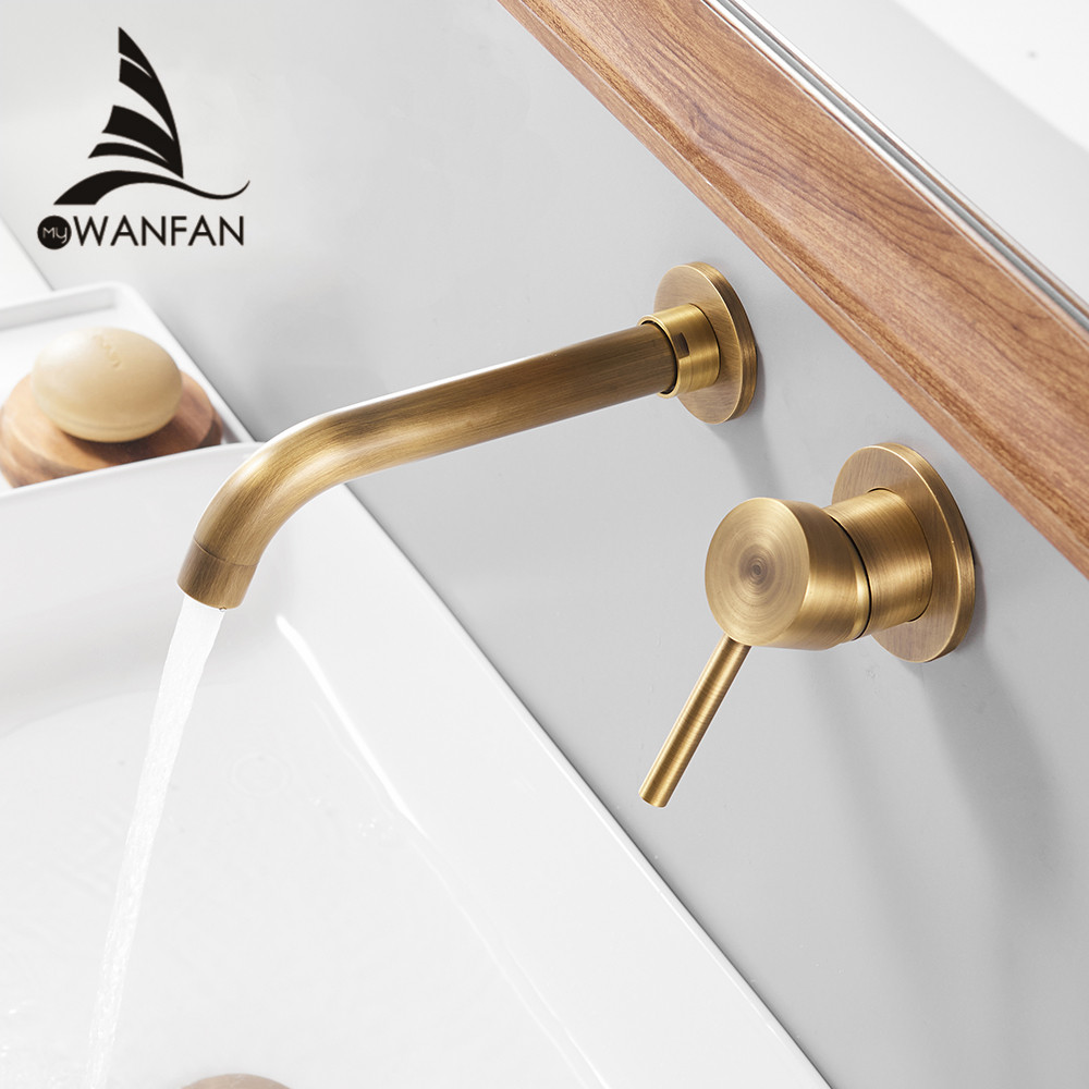 Basin Faucets Wall Mounted Brass Bathroom Sink Basin Mixer Tap Faucet Chrome Faucet Dual Handle Antique