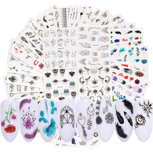 LEMOOC 45Pcs/Set Black Flower Water Transfer Decals Colorful Nail Art Stickers Butterfly Lace Dream Catcher