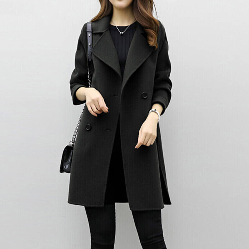 Lucyever Women Wool Long Coat Warm Autumn Winter Blend Jacket Slim Korean Double Breasted Female Trench Abrigos Mujer Invierno