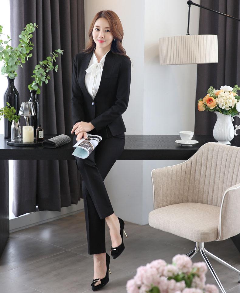 Conjunto Grey Profesional Negocios De Con Y Trajes Pantalón Las Pantalones Grey Moda Mujeres Novedad Para black Señoras Formal Chaquetas ITwaqn4