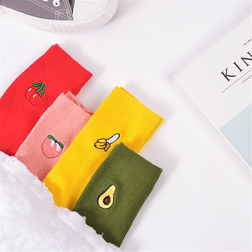 New-Korean-Pile-Heap-Socks-Retro-Embroidery-Long-Section-Of-Cotton-Socks-Cute-Comfortable-Fruit-Banana (3)