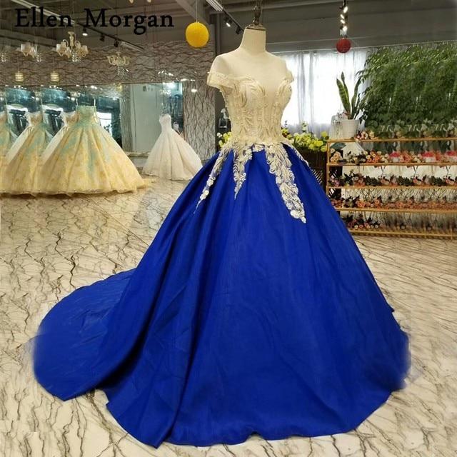 Royal Blue Satin Ball Gowns Wedding Dresses Cap Sleeves Sheer Neck ...