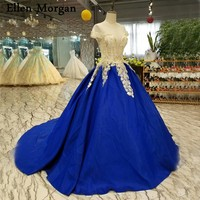 Royal Blue Satin Ball Gowns Wedding Dresses Cap Sleeves Sheer Neck Long Real Photos Pattern Beaded Puffy Sexy Bridal Gowns 2018