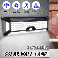 Smuxi 136 LED Solar Light Super Bright Outdoor Solar Wall Lights with PIR Motion Sensor 3 Modes Dimmable Waterproof IP65
