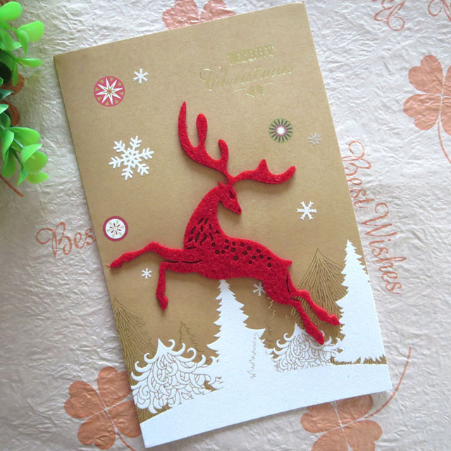 10 pcs creative handmade merry christmas deer cards cute snowman gifts laser cut up paper business
