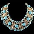 Collares de moda Bohemia Tejer Manual Puro Natural Turquesa Ahueca Hacia Fuera el Collar Corto 2 Color NK-01356