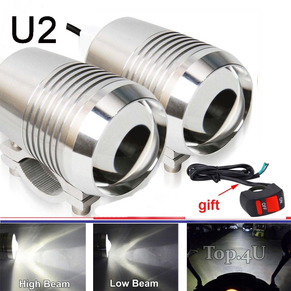 2pcs 30W U2 LED Motorcycle Motorbike HeadLight High Low Flash Spot Headbeam Bulb light with LED