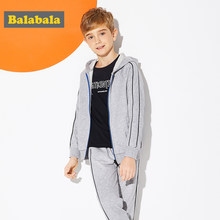 Balabala Boys Soft Cotton 2-Piece Hooded Sweatshirt with Zip Hoodie + Sport Sweatpants Set for Teenage Boy for Spring Autumn(China)