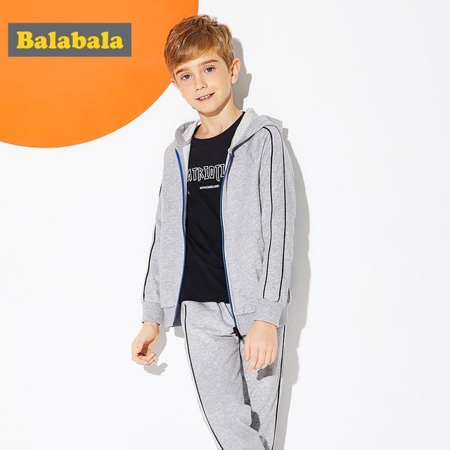 Balabala Boys Soft Cotton 2-Piece Hooded Sweatshirt with Zip Hoodie + Sport Sweatpants Set for Teenage Boy for Spring Autumn